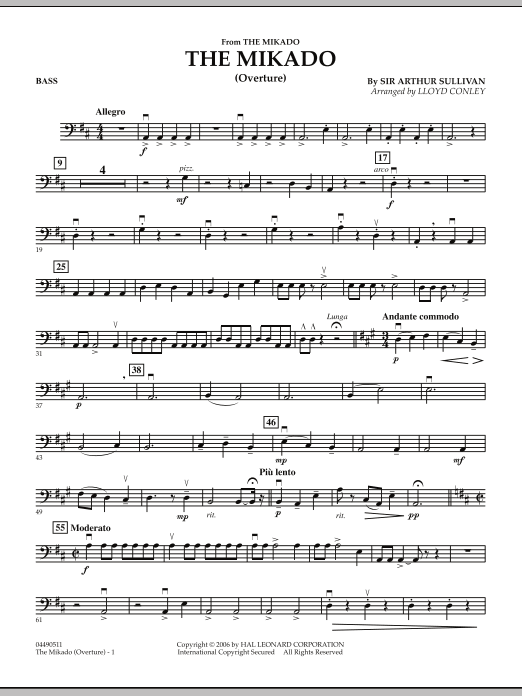 Lloyd Conley The Mikado (Overture) - String Bass sheet music notes and chords. Download Printable PDF.