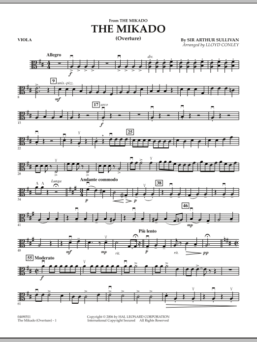 Lloyd Conley The Mikado (Overture) - Viola sheet music notes and chords. Download Printable PDF.