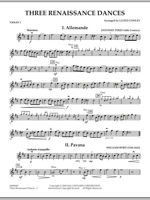 Lloyd Conley Three Renaissance Dances - Violin 1 sheet music notes and chords