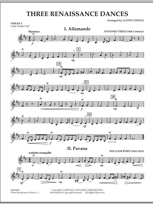 Lloyd Conley Three Renaissance Dances - Violin 3 (Viola Treble Clef) sheet music notes and chords