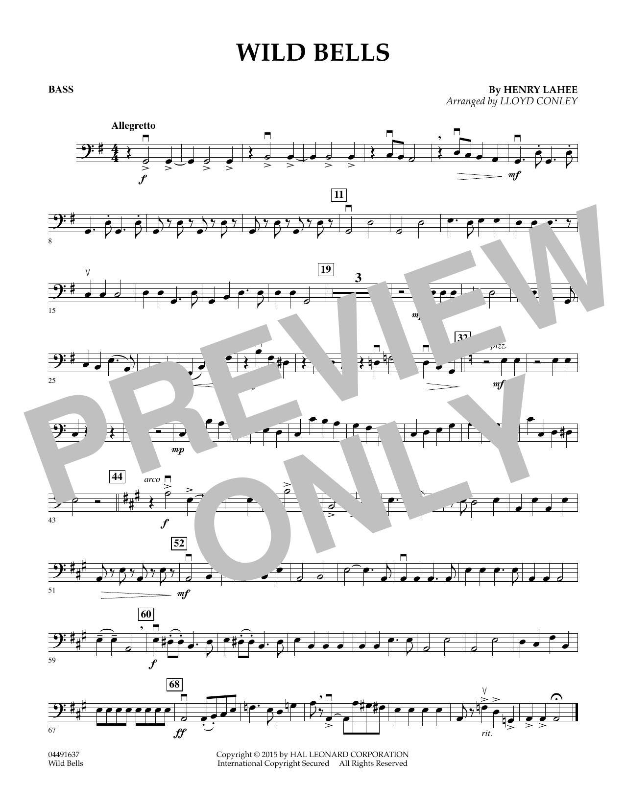 Lloyd Conley Wild Bells - Bass sheet music notes and chords