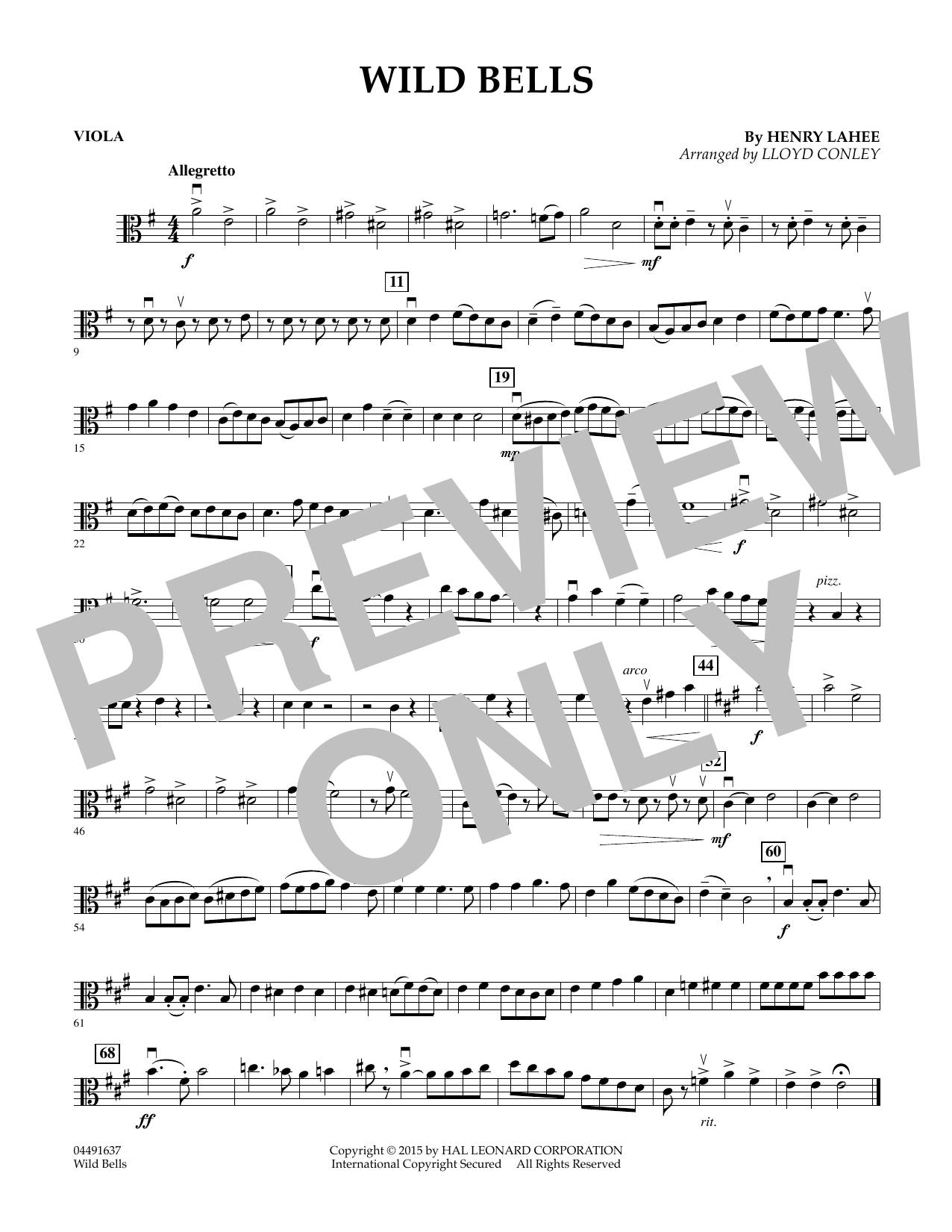 Lloyd Conley Wild Bells - Viola sheet music notes and chords