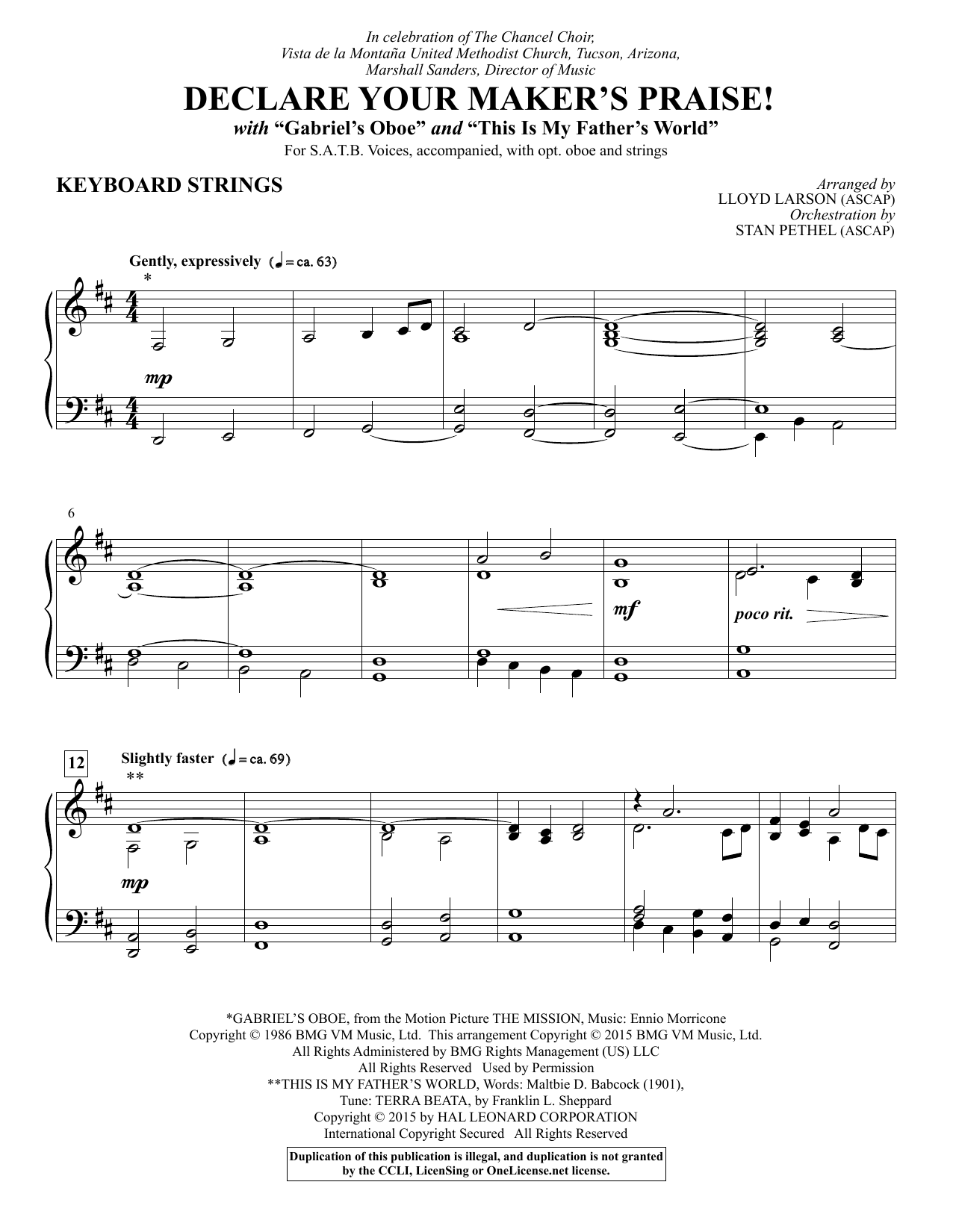 Lloyd Larson Declare Your Maker's Praise! - Keyboard String Reduction sheet music notes and chords. Download Printable PDF.