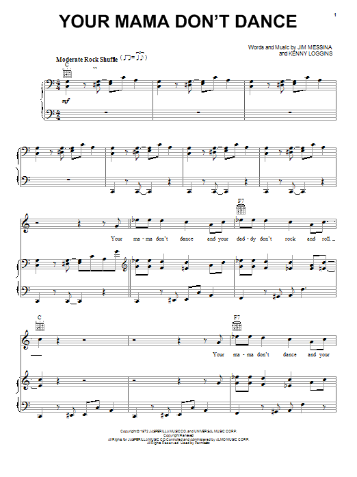 Loggins and Messina Your Mama Don't Dance sheet music notes and chords. Download Printable PDF.