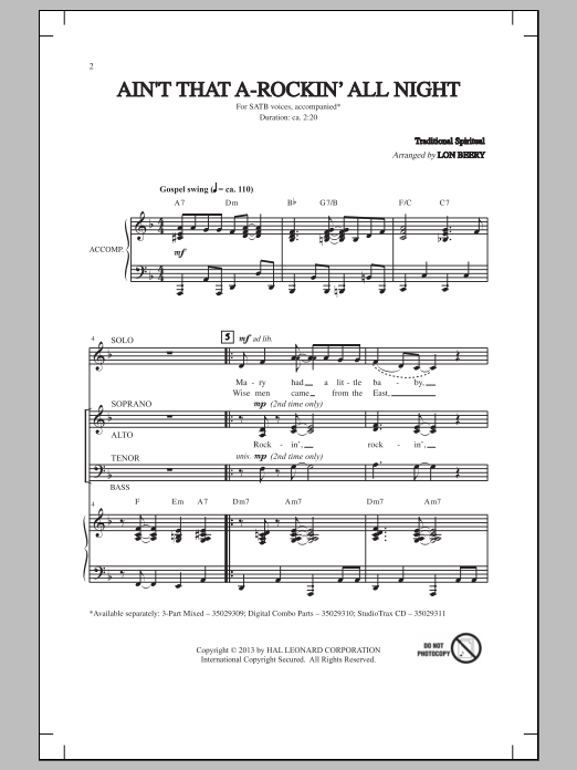 Lon Beery Ain't That A-Rockin' All Night sheet music notes and chords. Download Printable PDF.