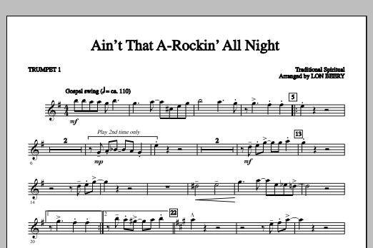 Lon Beery Ain't That A-rockin' All Night - Part 1 - Trumpet sheet music notes and chords. Download Printable PDF.