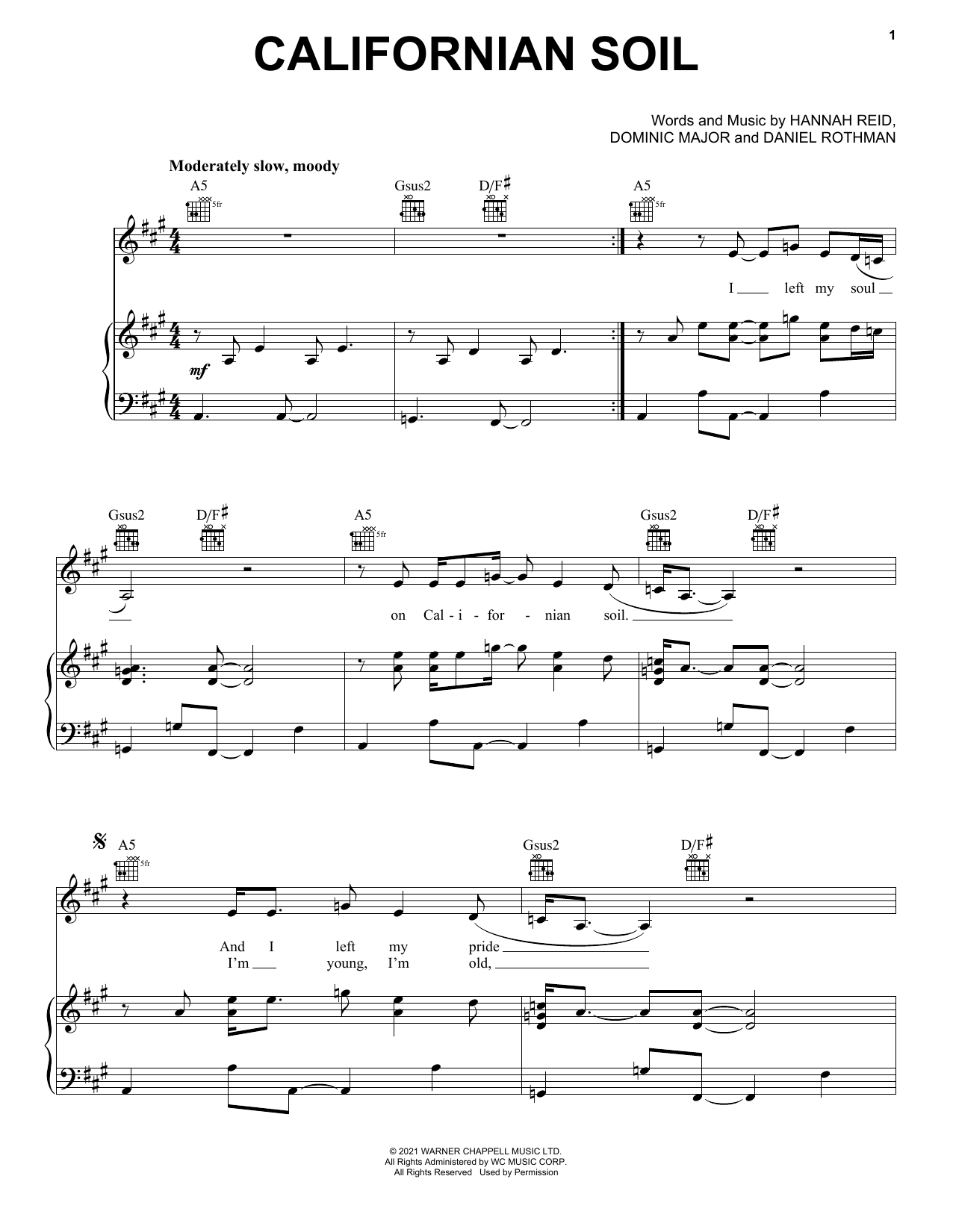 London Grammar Californian Soil sheet music notes and chords. Download Printable PDF.