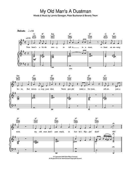 Lonnie Donegan My Old Man's A Dustman sheet music notes and chords. Download Printable PDF.