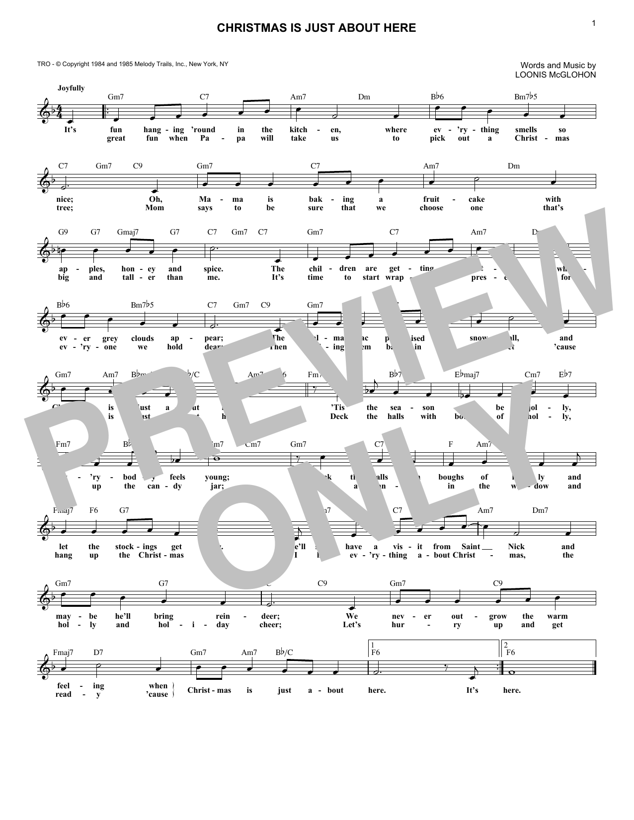 Loonis McGlohon Christmas Is Just About Here sheet music notes and chords