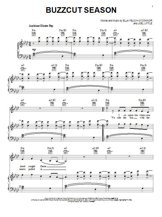 Lorde Buzzcut Season sheet music notes and chords. Download Printable PDF.