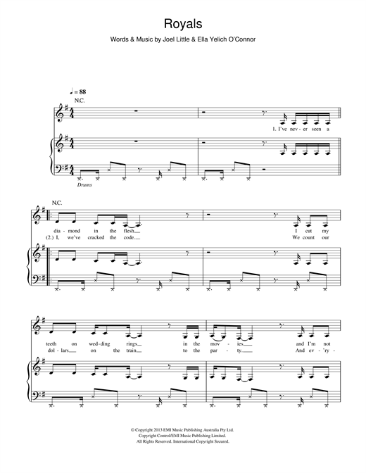 Lorde Royals sheet music notes and chords