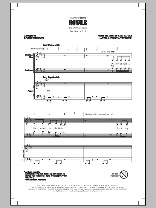 Lorde Royals (arr. Roger Emerson) sheet music notes and chords. Download Printable PDF.