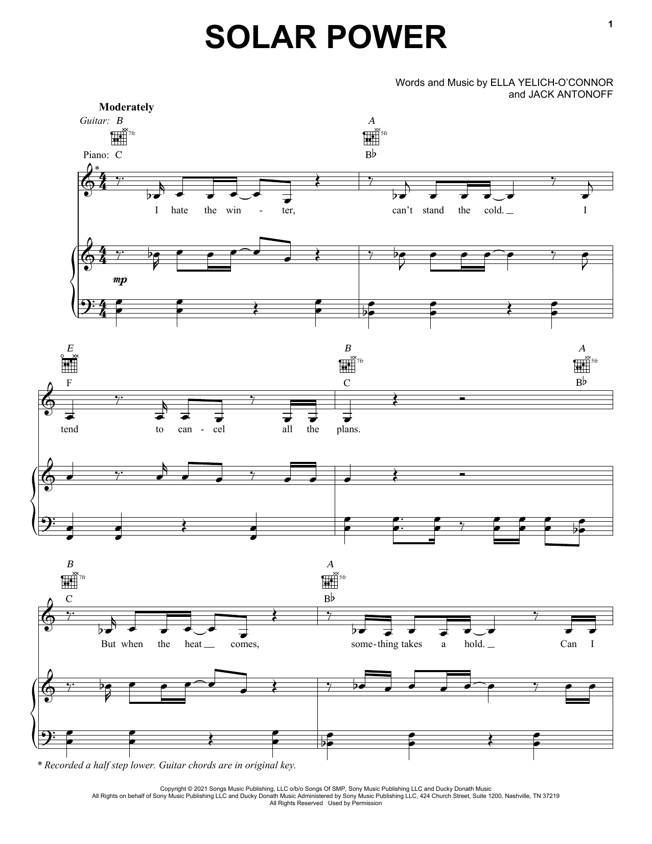 Lorde Solar Power sheet music notes and chords. Download Printable PDF.