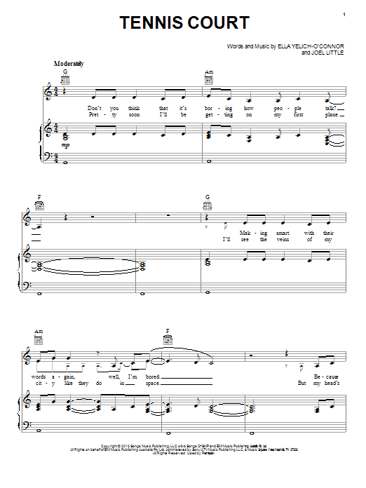 Lorde Tennis Court sheet music notes and chords. Download Printable PDF.