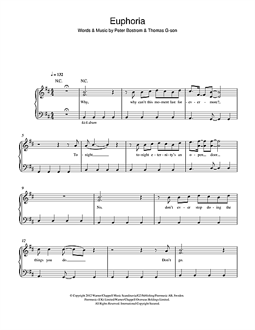 Loreen Euphoria sheet music notes and chords. Download Printable PDF.