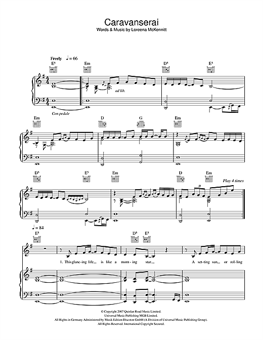 Loreena McKennitt Caravanserai sheet music notes and chords. Download Printable PDF.