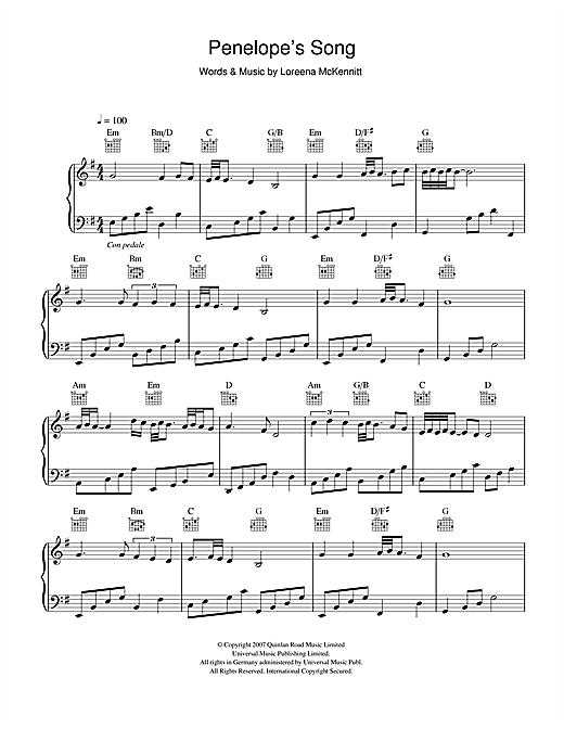 Loreena McKennitt Penelope's Song sheet music notes and chords. Download Printable PDF.
