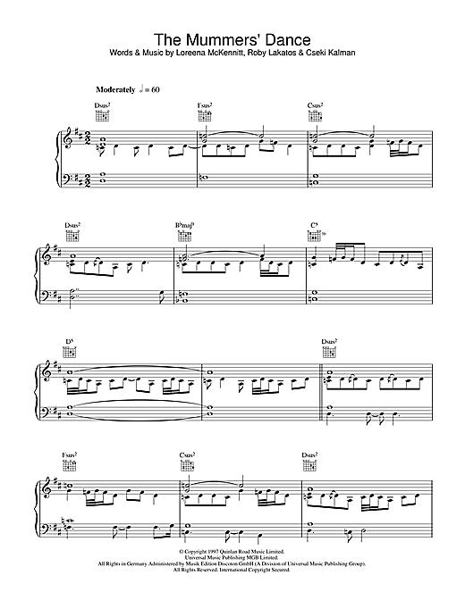 Loreena McKennitt The Mummers' Dance sheet music notes and chords