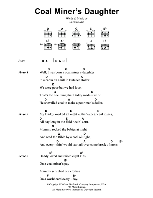 Loretta Lynn Coal Miner's Daughter sheet music notes and chords. Download Printable PDF.