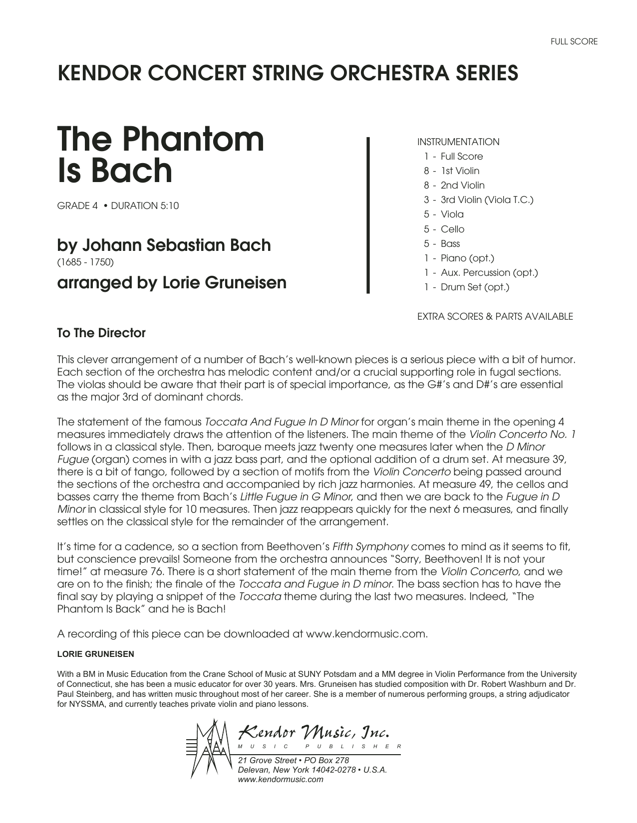 Lorie Gruneisen The Phantom Is Bach - Full Score sheet music notes and chords. Download Printable PDF.