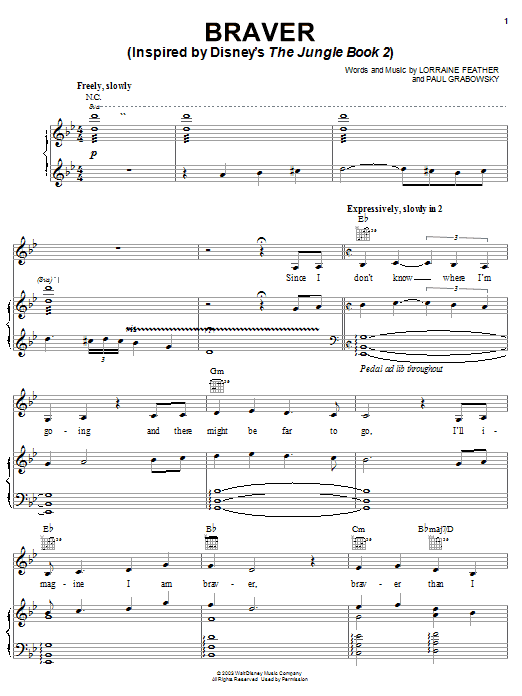 Lorraine Feather Braver (Inspired by Disney's The Jungle Book 2) sheet music notes and chords. Download Printable PDF.