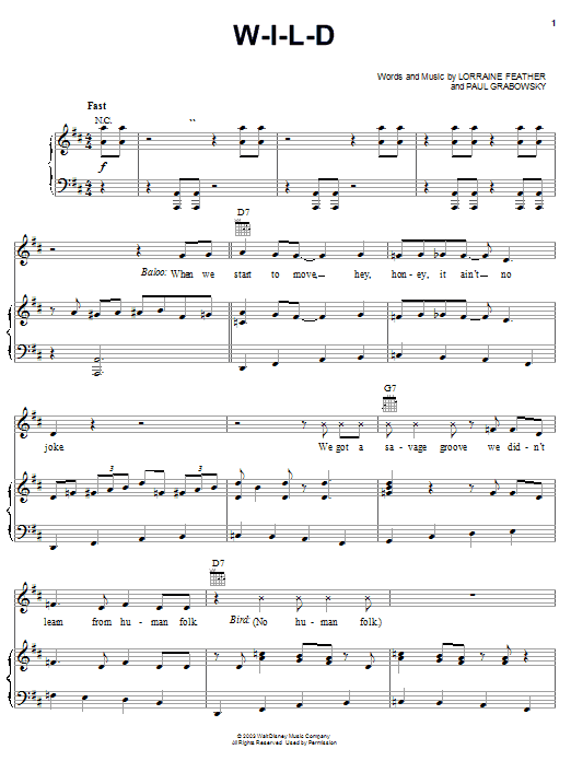 Lorraine Feather W-I-L-D (from The Jungle Book 2) sheet music notes and chords. Download Printable PDF.