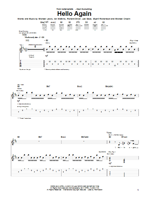 Lostprophets Hello Again sheet music notes and chords. Download Printable PDF.
