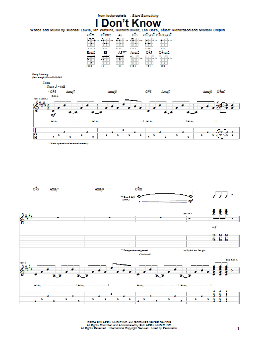 Lostprophets I Don't Know sheet music notes and chords. Download Printable PDF.