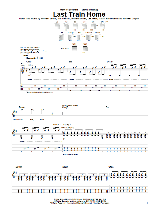 Lostprophets Last Train Home sheet music notes and chords. Download Printable PDF.