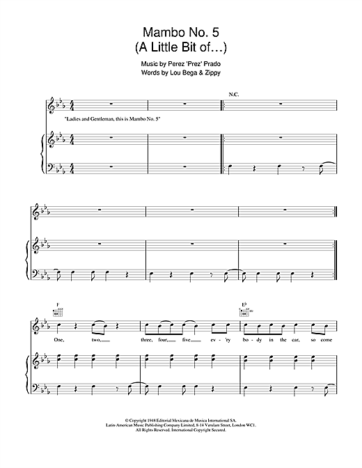 Lou Bega Mambo No. 5 (A Little Bit Of...) sheet music notes and chords. Download Printable PDF.
