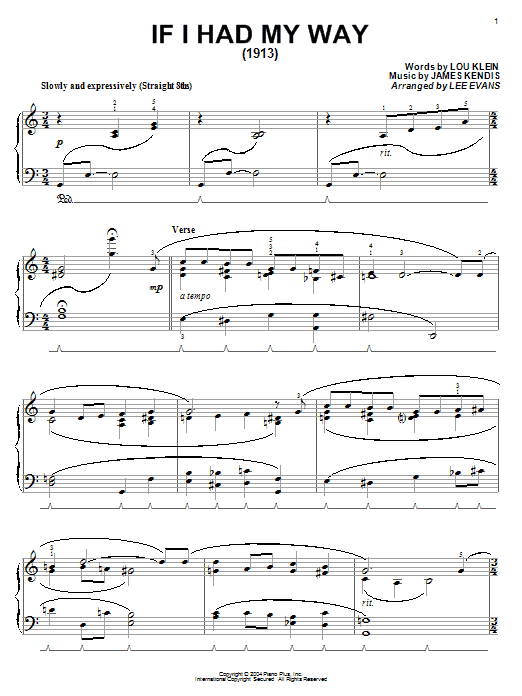 Lou Klein If I Had My Way sheet music notes and chords