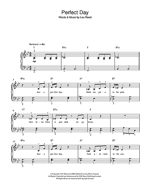 Lou Reed Perfect Day sheet music notes and chords. Download Printable PDF.