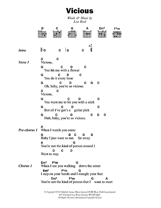Lou Reed Vicious sheet music notes and chords. Download Printable PDF.
