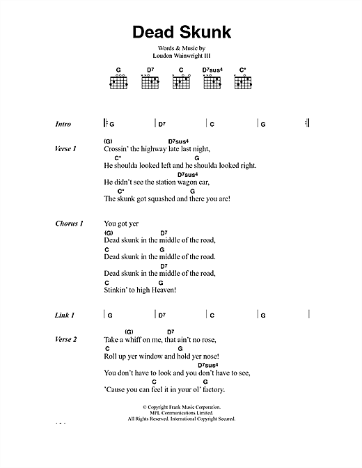 Loudon Wainwright III Dead Skunk sheet music notes and chords. Download Printable PDF.