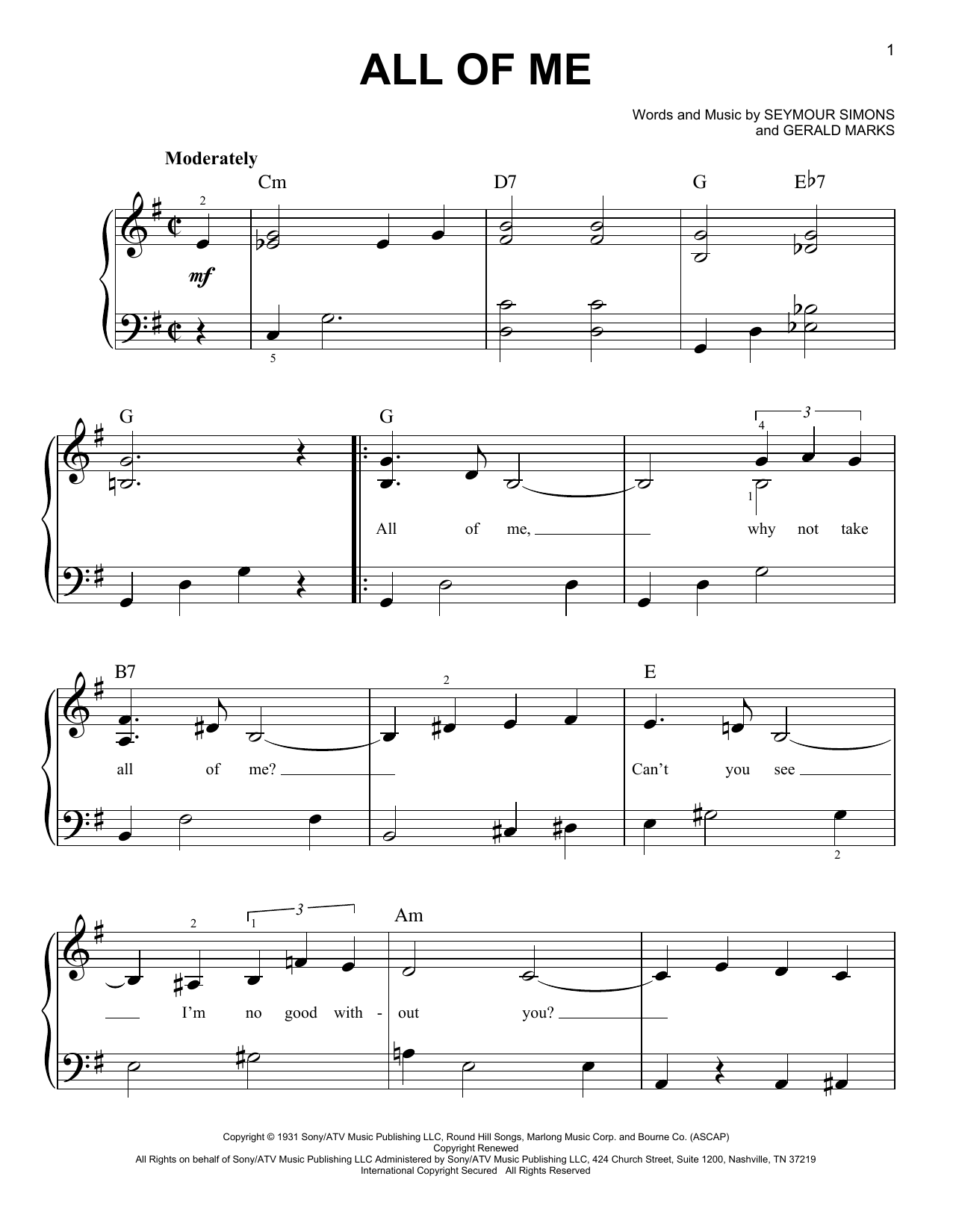 Louis Armstrong All Of Me sheet music notes and chords