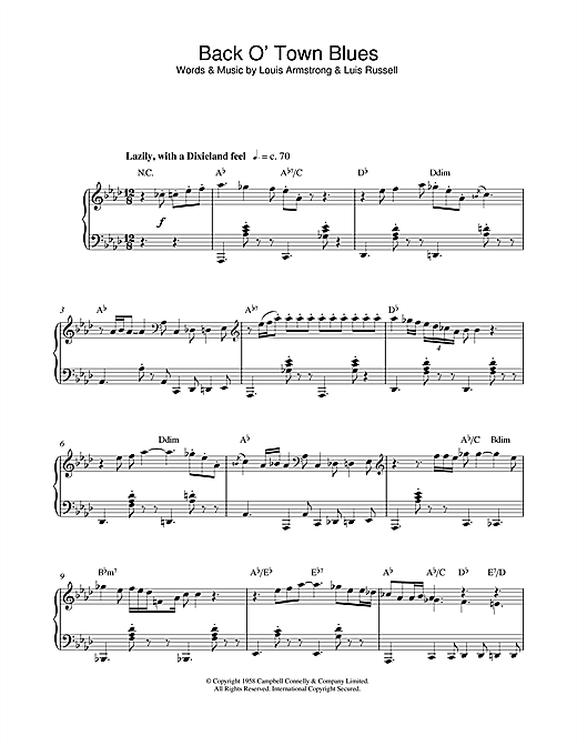 Louis Armstrong Back O' Town Blues sheet music notes and chords. Download Printable PDF.