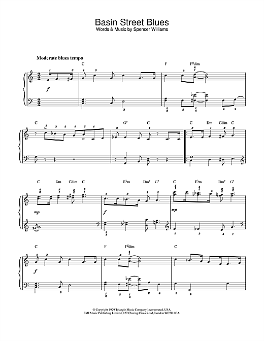 Louis Armstrong Basin Street Blues sheet music notes and chords. Download Printable PDF.