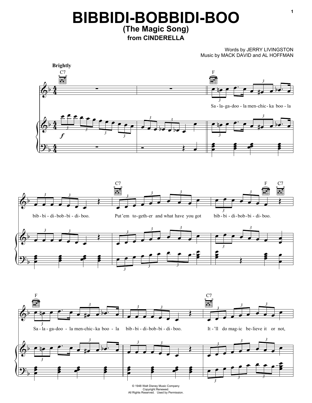 Louis Armstrong Bibbidi-Bobbidi-Boo (The Magic Song) sheet music notes and chords. Download Printable PDF.