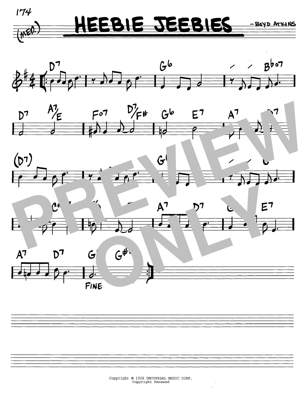 Louis Armstrong Heebie Jeebies sheet music notes and chords. Download Printable PDF.