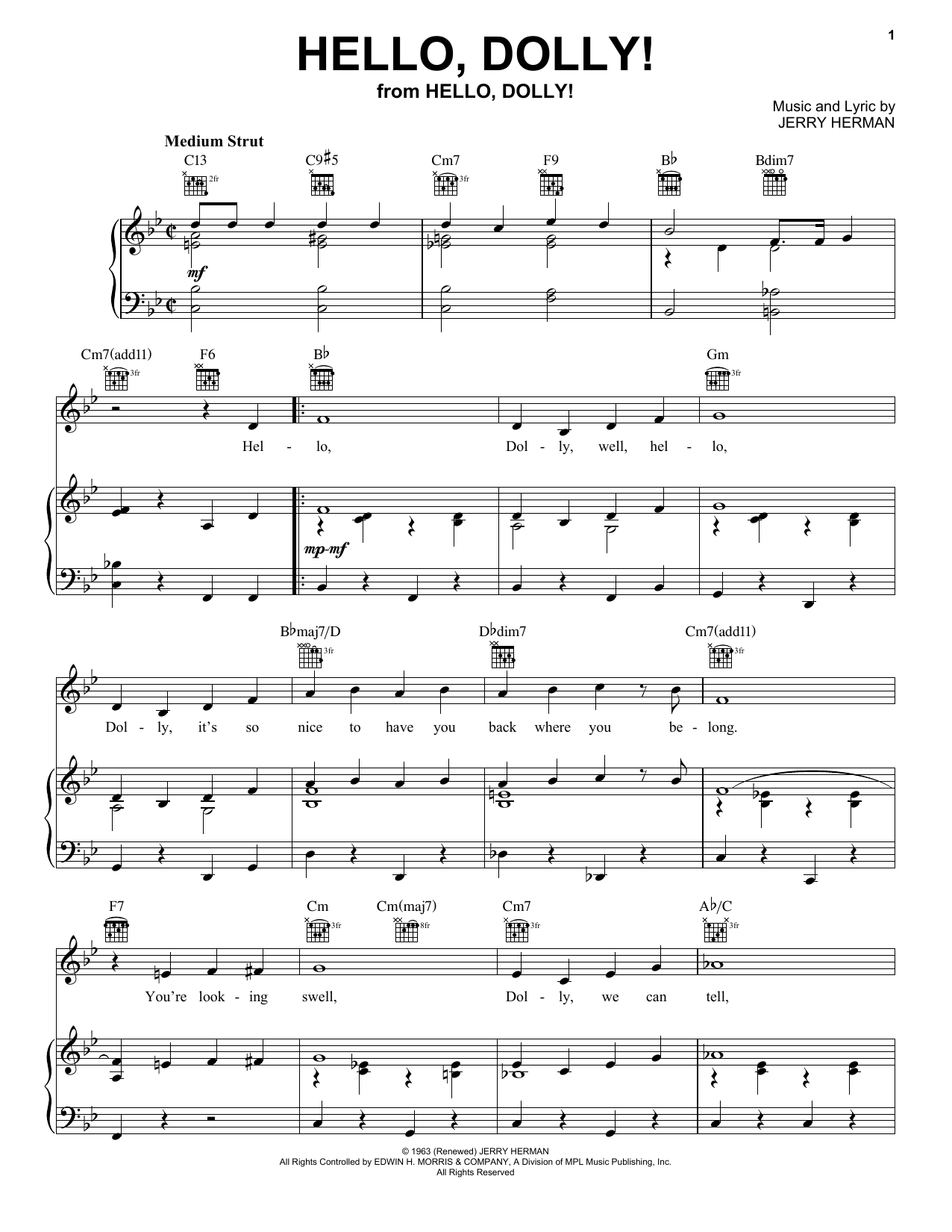 Louis Armstrong Hello, Dolly! sheet music notes and chords