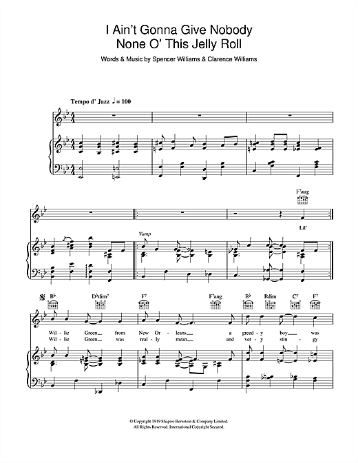 Louis Armstrong I Ain't Gonna Give Nobody None Of This Jelly Roll sheet music notes and chords. Download Printable PDF.