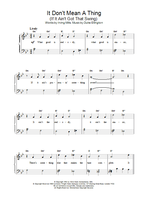 Louis Armstrong It Don't Mean A Thing (If It Ain't Got That Swing) sheet music notes and chords. Download Printable PDF.