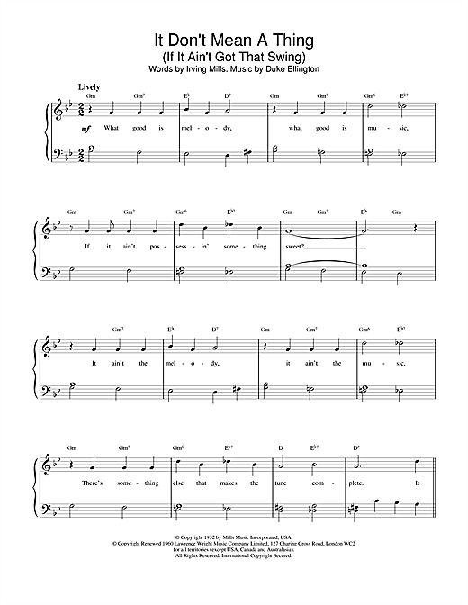 Louis Armstrong It Don't Mean A Thing (If It Ain't Got That Swing) sheet music notes and chords