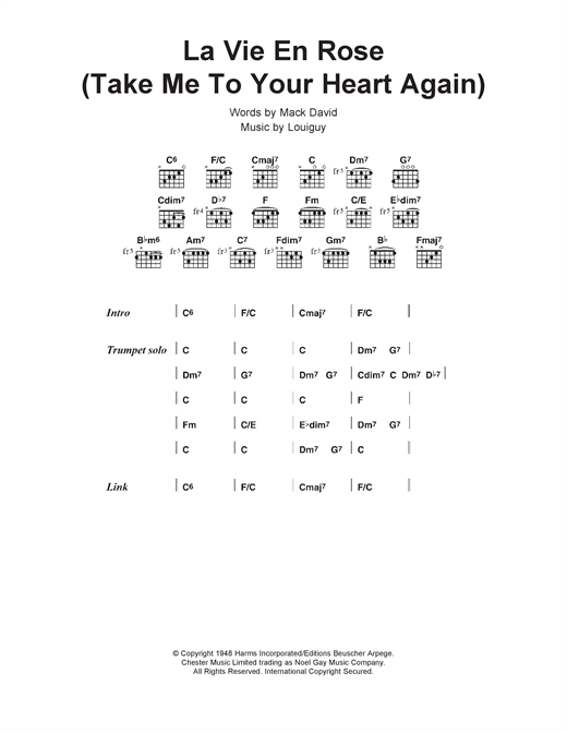 Louis Armstrong La Vie En Rose (Take Me To Your Heart Again) sheet music notes and chords. Download Printable PDF.