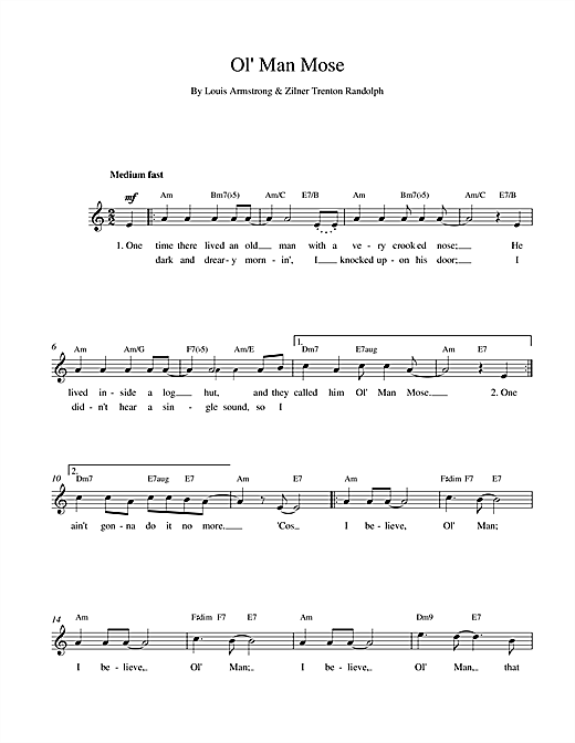 Louis Armstrong Ol Man Mose sheet music notes and chords. Download Printable PDF.