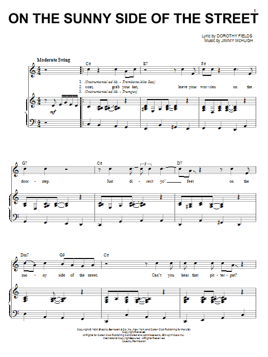 Louis Armstrong On The Sunny Side Of The Street sheet music notes and chords