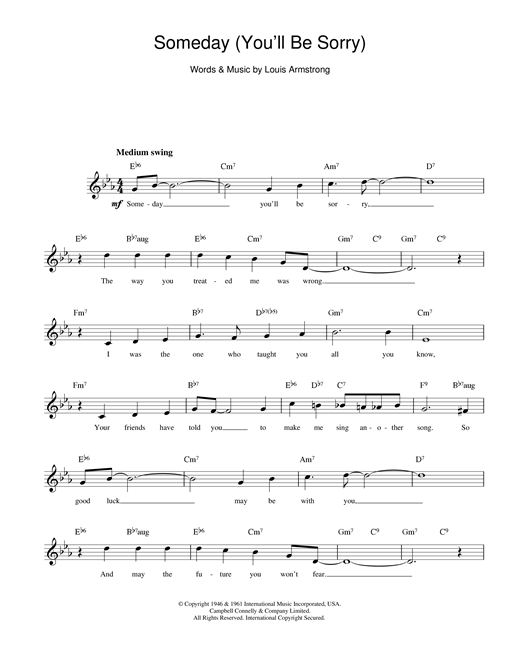 Louis Armstrong Someday (You'll Be Sorry) sheet music notes and chords