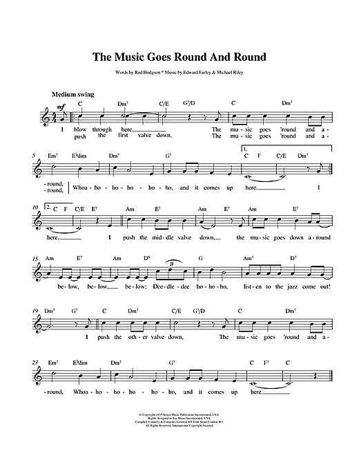 Louis Armstrong The Music Goes Round And Round sheet music notes and chords