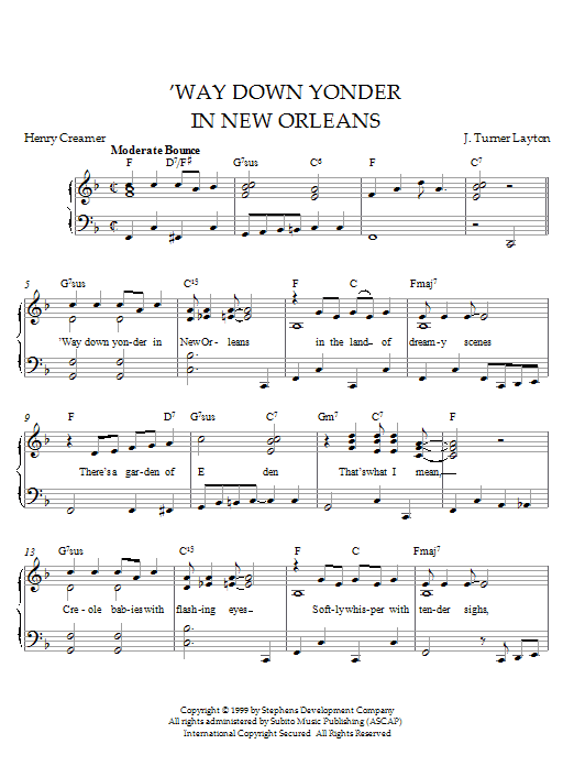 Louis Armstrong Way Down Yonder In New Orleans sheet music notes and chords
