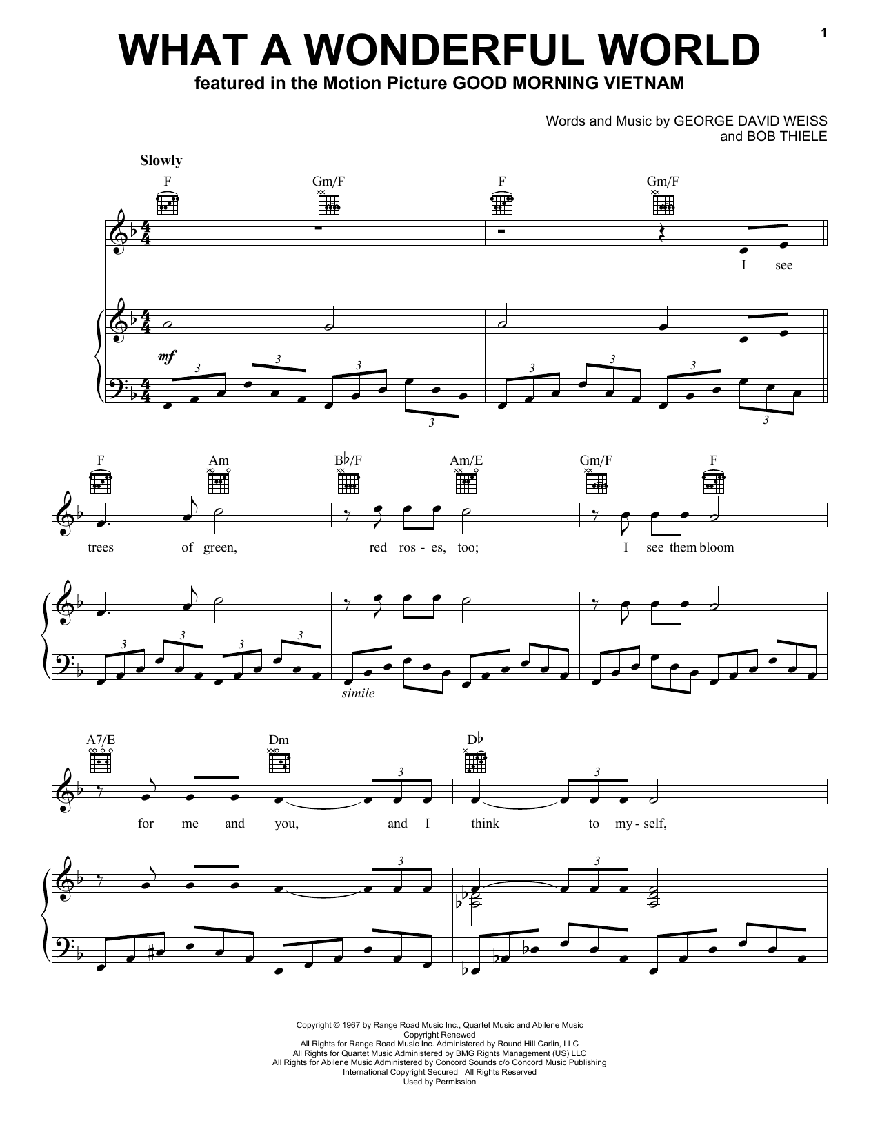 Louis Armstrong What A Wonderful World sheet music notes and chords. Download Printable PDF.